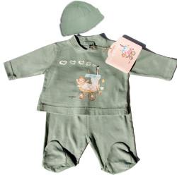 """Camiseta y polaina """"Tren""""  + gorrito-0 meses-Salvia"""