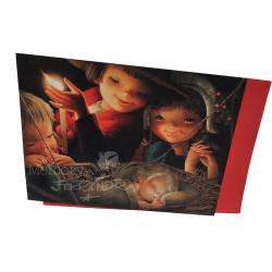 Tarjeta Christmas Ferrándiz NACIMIENTO A LA LUZ DE UNA VELA, 15X19cm