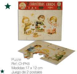 Christmas Ferrándiz, serie PUZZLE, pack 2 tarjetas troqueladas en forma de puzzl