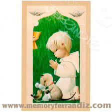 """Estampas Comunión """"Serie Verde Niño"""". 50 uds, en cajita. 7,5 x12 cm"""