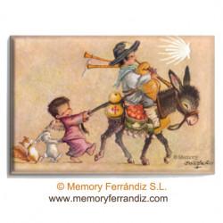 Imán nevera PEREGRINO EN BURRITO Memory Ferrándiz, 53 x 78 mm