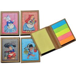 "Mini libro con notas adhesivas  ""Ratita"". 6,5 x 8,5 x 1 cm. Tapa dura."