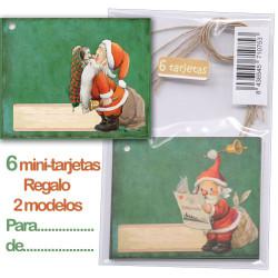 Mini tarjetas-etiquetas regalo PAPA NOEL, Ferrándiz, con cordel rústico.