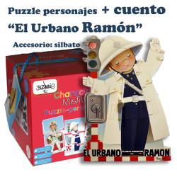 """Puzzle """"Personajes"""" + CUENTO """"El URBANO RAMÓN"""". Accesorio: silbato"""