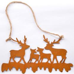 Silueta Familia ciervos, metal rústico, con cordel, para colgar.