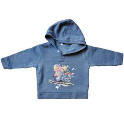 """Sudadera """"esquiadores"""" con capucha. Color azul tejano."""