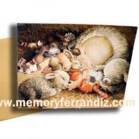 Tarjeta Christmas Ferrándiz NIÑO JESÚS Y MASCOTAS + sobre dorado,19x15 cm