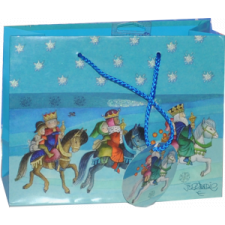 """Bolsa papel """"Reyes Magos a caballo"""" con mini etiqueta.  23x18x10 cm(M)"""