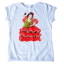 "Camiseta ""Flamenca"".  1 dibujo frontal. Color blanco.4 Tallas:MUJER"
