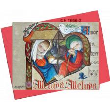 Tarjeta Christmas Ferrándiz CORAZÓN MEDIEVAL, 15X19cm+ sobre color