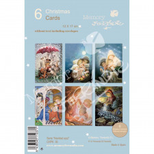 Christmas Ferrándiz, serie NAVIDAD AZUL, Pack 6 tarjetas navideñas variadas, CHPK 36