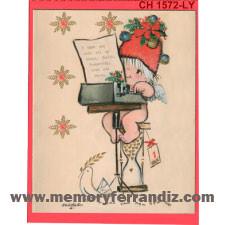 Tarjeta Christmas Ferrándiz MÁQUINA DE ESCRIBIR. 15X19cm+ sobre color