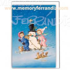 Tarjeta Christmas Memory Ferrándiz, ESQUIANDO,