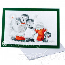 Tarjeta Christmas Memory Ferrándiz MONAGUILLOS SERIE VERDE ROJO