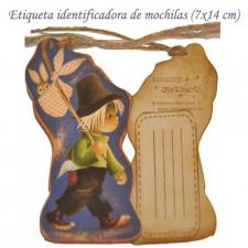 "Placa vintage etiqueta para maleta. ""Peregrino"". 14 x 7 cm"