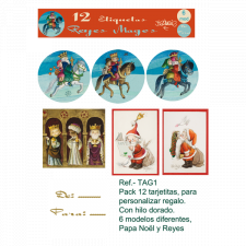 Etiquetas regalo NAVIDAD y REYES MAGOS, Ferrándiz, pack 12 uds X 6 MODELOS