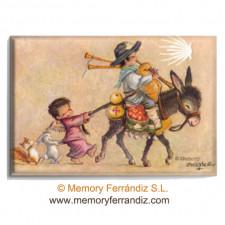 Imán PEREGRINO EN BURRITO Memory Ferrándiz, 53 x 78 mm