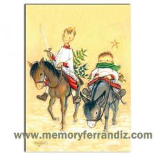 Christmas Tarjeta Ferrándiz QUIJOTE Y SANCHO, 12x17cm