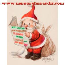 Tarjeta Christmas Ferrándiz PAPÁ NOEL+ sobre color