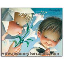 Tarjeta Comunión Ferrándiz NIÑOS CON LIRIOS+  sobre plateado, 15 x 19 cm