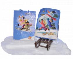 Bolsa papel regalo NIÑOS ESQUIANDO, Ferrándiz, XL con etiqueta, 46x32x10 cm