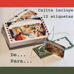 Cajita regalo conteniendo 12 Etiquetas CASITA DE NAVIDAD