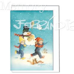 Tarjeta Christmas -COSTALEROS EN LA NIEVE- Memory Ferrándiz