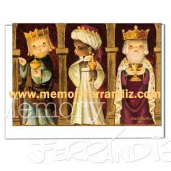 "Christmas tarjeta ""Reyes Magos dorados"" Ferrándiz"