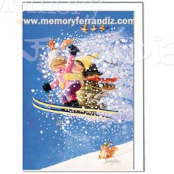 Tarjeta Christmas -SALTO DE ESQUÍ- Memory Ferrándiz