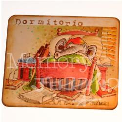 """Placa puerta vintage cartón maché. 12,4 X 11 cm, con cordel. Elefante """"DORMITORIO""""."""