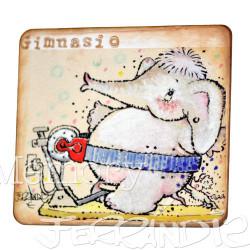 """Placa puerta vintage cartón maché. 12,4 X 11 cm, con adhesivo. Elefante """"GIMNASIO"""""""