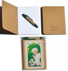 Libreta notas Ferrándiz mini kraft papel blanco SERIE VERDE NIÑO 9,5 x 12,5 cm+ boli
