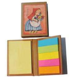"""Mini libro con notas adhesivas  """"Caperucita"""". 6,5 x 8,5 x 1 cm. Tapa dura"""