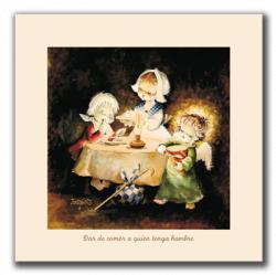 Cuadro en lienzo digital Obras de Misericordia 1 -Dar de comer a quien tenga hambre- Memory Ferrándiz