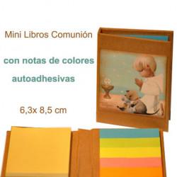Mini libro con notas adhesivas  COMUNIÓN NIÑO 6,5 x 8,5 x 1 cm