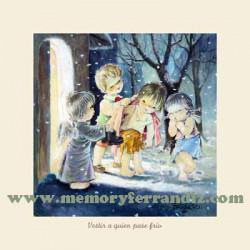 Cuadro en lienzo digital Obras de Misericordia, Ferrándiz -Vestir a quien pase frío-