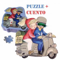 """Puzzle en caja troquelada """"Olga y Jorge en vespa"""" + CUENTO."""