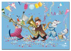 Tarjeta Felicidades Ferrándiz PAYASOS+ sobre color, 15 x 19 cm
