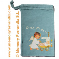 Bolsa algodón Ferrándiz  ANGELITO PASEANDO BEBÉ,  23X14 cm (P)