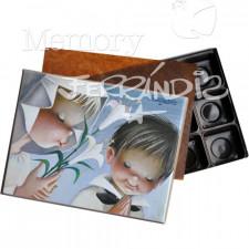 """Caja Bombones o multiusos Primera Comunión, """"Niños con lirios """" (17x12x3cm)"""