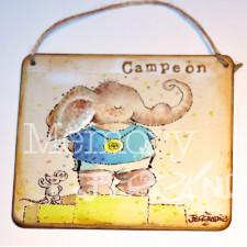 """Placa puerta vintage cartón maché. 12,4 X 11 cm, con cordel. Elefante """"CAMPEÓN"""""""
