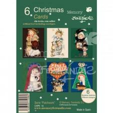 Christmas Ferrándiz, serie PATCHWORK, pack 6 tarjetas + sobres (12x17 cm), CHPK 14.