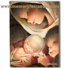 """Tarjeta """"Virgen color"""" + sobre color (15 x 19 cm). Christmas Ferrándiz"""