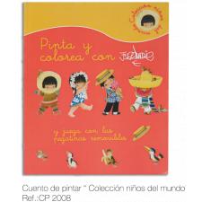 """Cuento para pintar """"Serie Niños del Mundo"""" con pegatinas. Ferrándiz"""