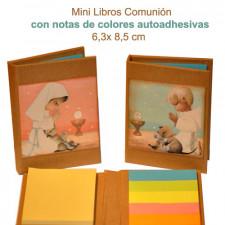 Mini libro con notas adhesivas  COMUNIÓN NIÑA 6,5 x 8,5 x 1 cm. Tapa dura.