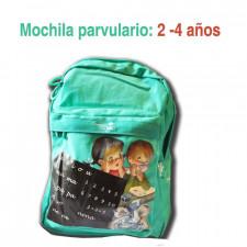 """Mochila Ferrándiz pequeña """"Niña y niño con pizarra"""" (verde)"""