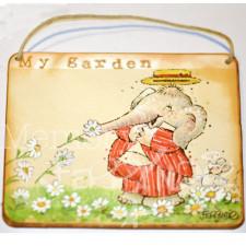 """Placa puerta vintage cartón maché. 12,4 X 11 cm, con cordel. Elefante """"MY GARDEN"""""""