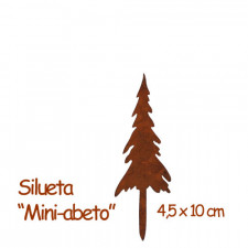 Silueta Abeto, mini, metal rústico. Color óxido. 4,5x10cm