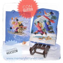 Bolsa papel grande regalo con glitter