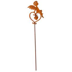 Ángel Corazón con varilla, metal rústico